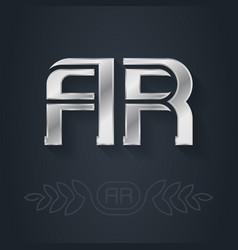 Ar - metallic 3d icon or logotype template vector