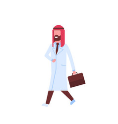Arab male doctor with briefcase going on visit vector
