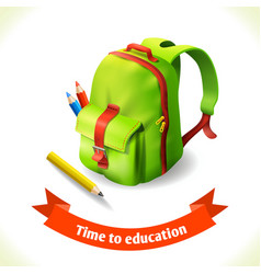 Backpack education icon vector