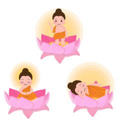 Buddha birth enlighten nirvana on vesak day eps10 vector