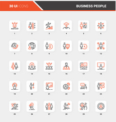 business people flat line web icon concepts vector image
