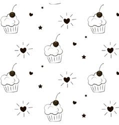 Cake pattern Pie greeting print Cupcake vector