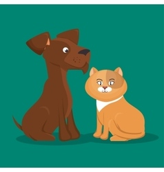 Cartoon pets cat dog icon vector