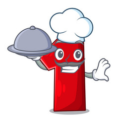 chef with food cartoon the number one for champion vector image