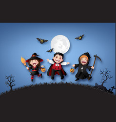 Children in halloween costumes vector