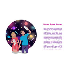 children play astronauts and dream space travel vector image