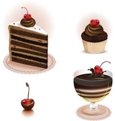 Chocolate dessert set vector image