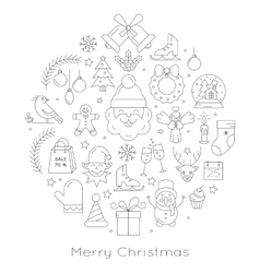 Christmas ball - black and white line icons vector image vector image