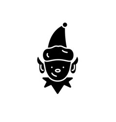 christmas elf black icon sign on isolated vector image