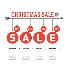 christmas sale time line graph infographics vector image