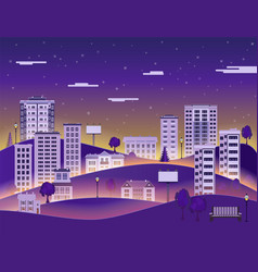 City landscape in night with multistorey apartment vector