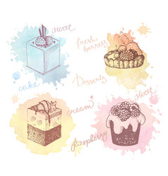 colored sketches cupcakes berry pie and cake vector image