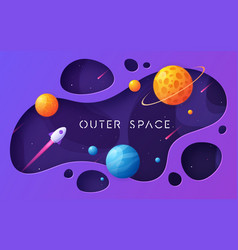 colorful cartoon outer space background design vector image