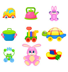Colorful toys for preschoolers set vector