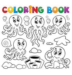 coloring book octopus theme 1 vector image