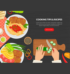 Cooking tips and receipes landing page template vector