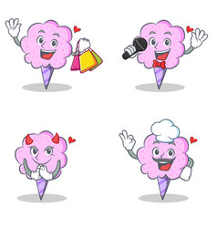 cotton candy character set with shopping karaoke vector image