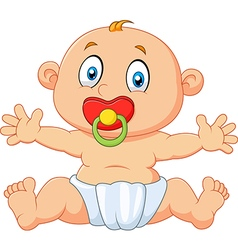 Cute baby boy sitting with pacifier isolated vector