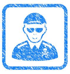 Deadly officer framed stamp vector