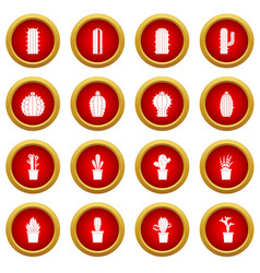 Different cactuses icon red circle set vector