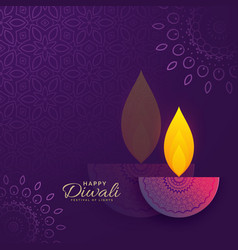 Diwali greeting card design with creative diya vector