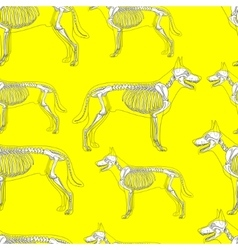Dog skeleton seamless pattern background vector image