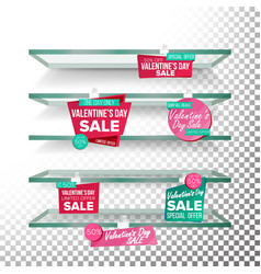 empty supermarket shelves valentine s day sale vector image