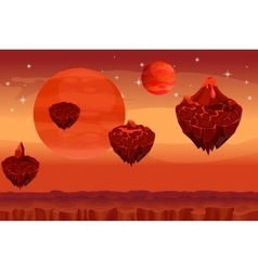 Fantastic space landscape martian alien planet vector