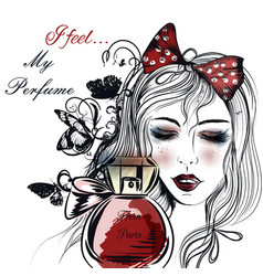fashion face pretty girl looking on perfume vector image