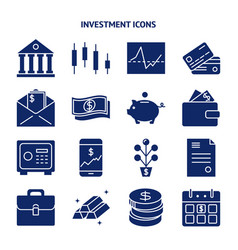 Finance and money silhouette icon set in flat vector