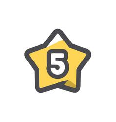 five stars rating icon cartoon vector image