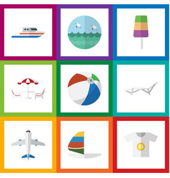 flat icon season set of boat deck chair aircraft vector image