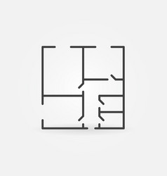 Floor plan minimal icon vector