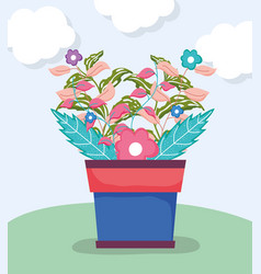 Flowers and plant branches leves in the flower pot vector
