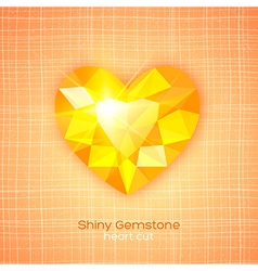 Gemstone heart shaped on textured background vector image vector image