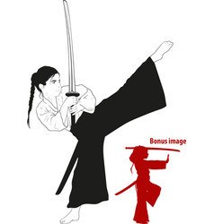girl training with sword vector image