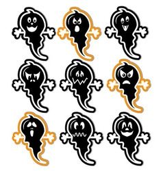 Halloween ghost icons set in colour with gray shad vector image
