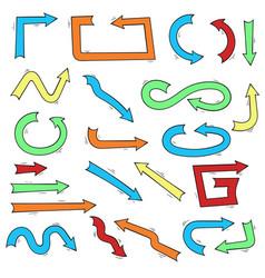 hand drawn colored arrows vector image