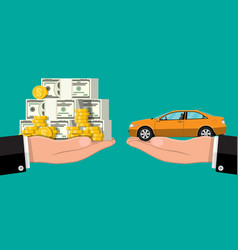 hand scales with money and car vector image