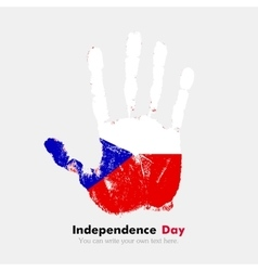 Handprint with the Flag of Czech Republic in vector image