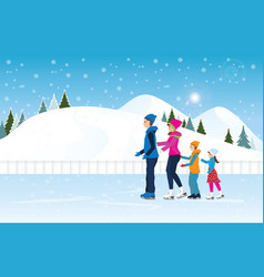 Happy family skating on ice rink on cityscape vector
