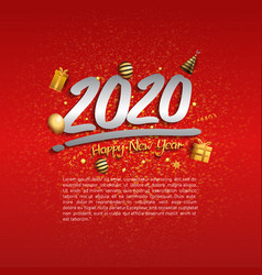 Happy new year 2020 silver number with golden vector