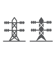 High voltage line line and glyph icon energy and vector