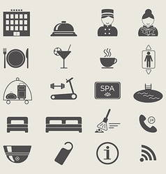 Hotel services icons Monochrome color Silhouette vector image