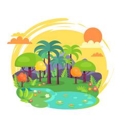 Indian jungle full green trees vector