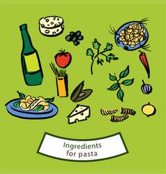 Ingredients for pasta vector