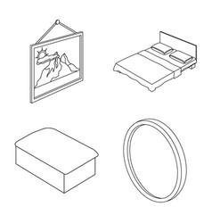 isolated object of bedroom and room logo vector image