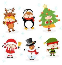 Kids With Christmas Costumes vector image