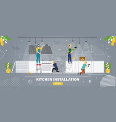 Kitchen installation company flat webpage vector