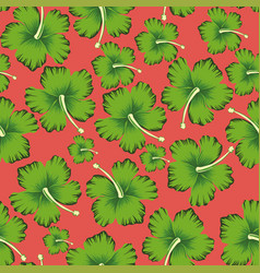 Lime flowers hibiscus seamless living coral vector